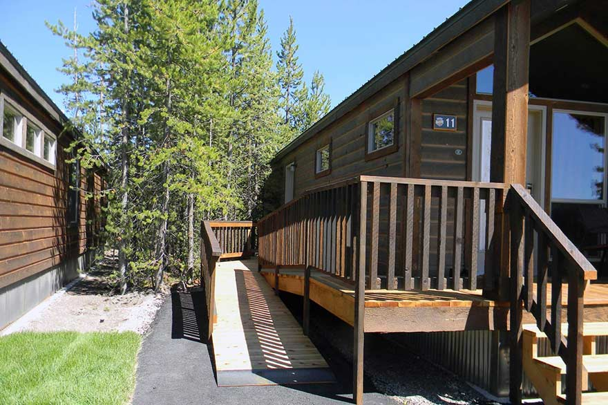 ADA accessible Old Faithful cabins feature a ramp for easy wheelchair access.