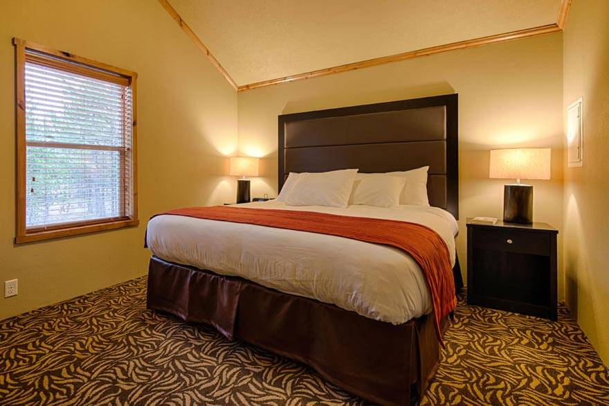 All Yellowstone cabins feature a King size bed in the master bedroom.