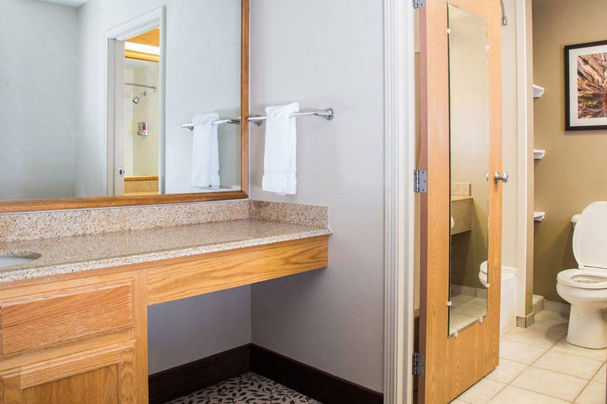 Gray Wolf Inn and Suites' family suite features a separate sink/vanity area outside of the main bathroom