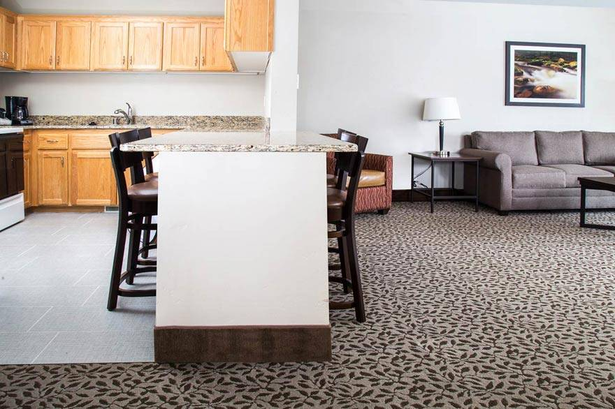 Enjoy spacious luxury in a Gray Wolf Inn and Suites family suite