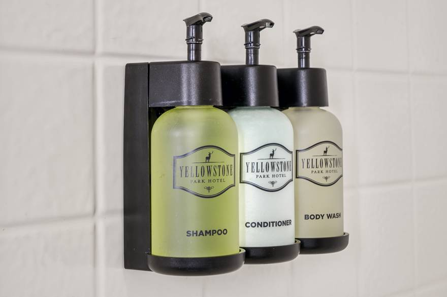 Yellowstone Park Hotel bulk soap dispensers in all bathrooms