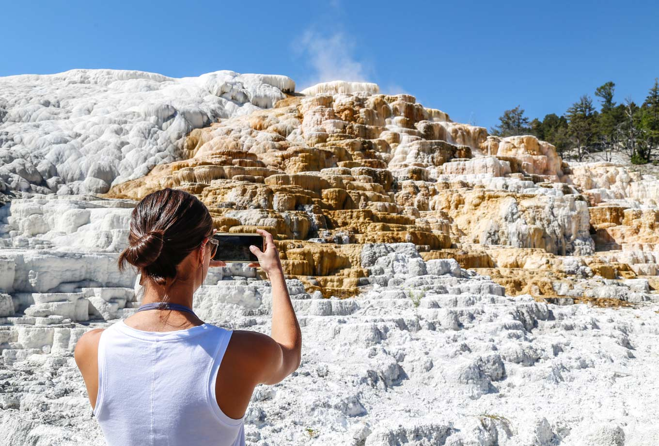 A Yellowstone visitor photographing Mammoth Hot Springs