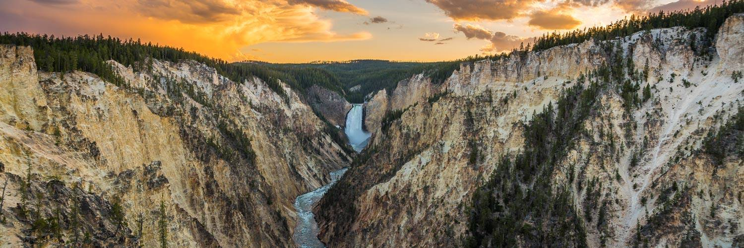 A summer sunset over the Grand Canyon of the Yellowstone