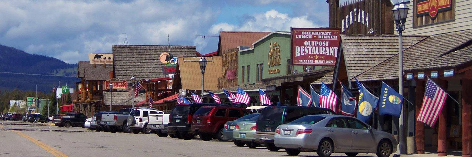 West Yellowstone restaurants and shops