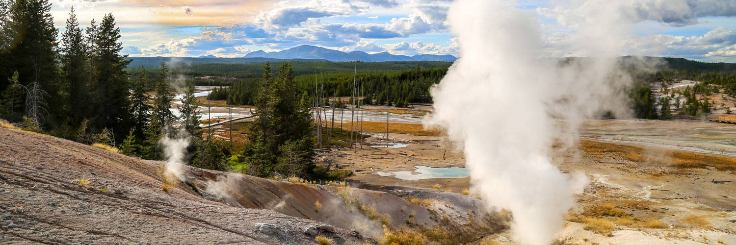 Active geysers inside Yellowstone National Park