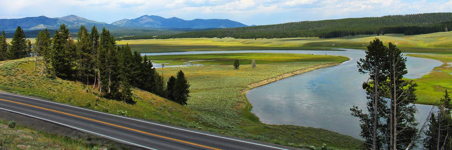 A beautiful scenic drive in Yellowstone National Park