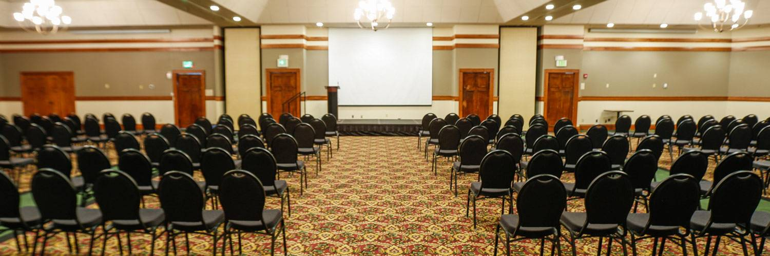 Large meeting room with podium outside Yellowstone National Park