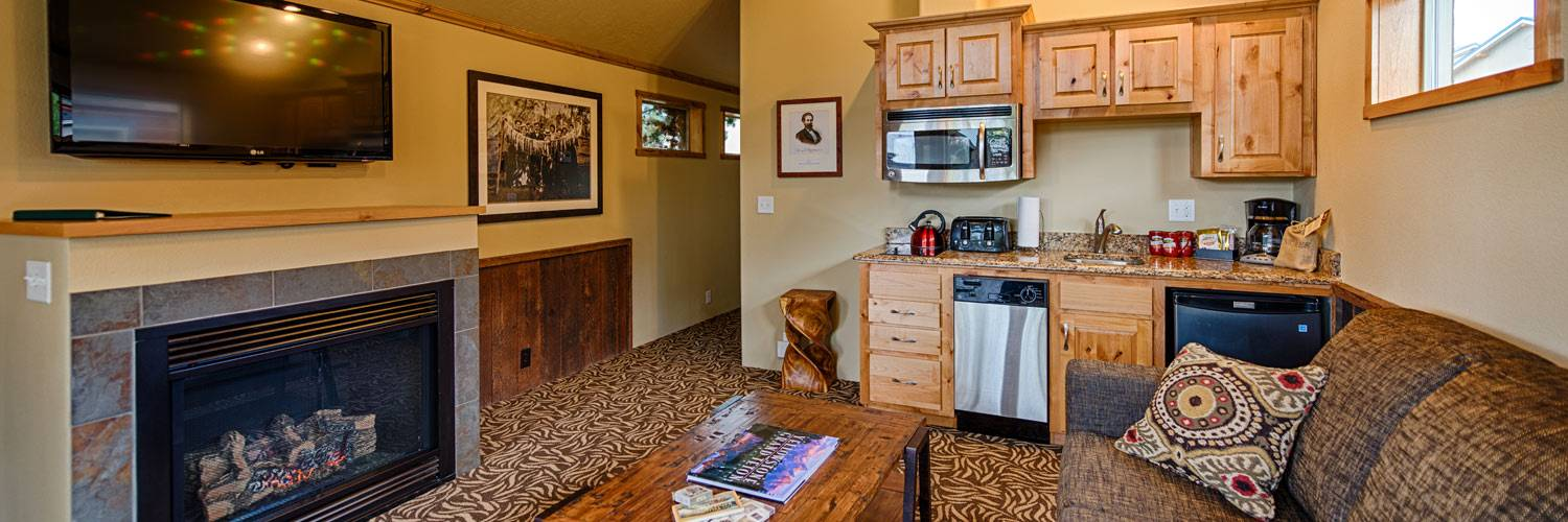 Explorer Cabins at Yellowstone living room with kitchenette