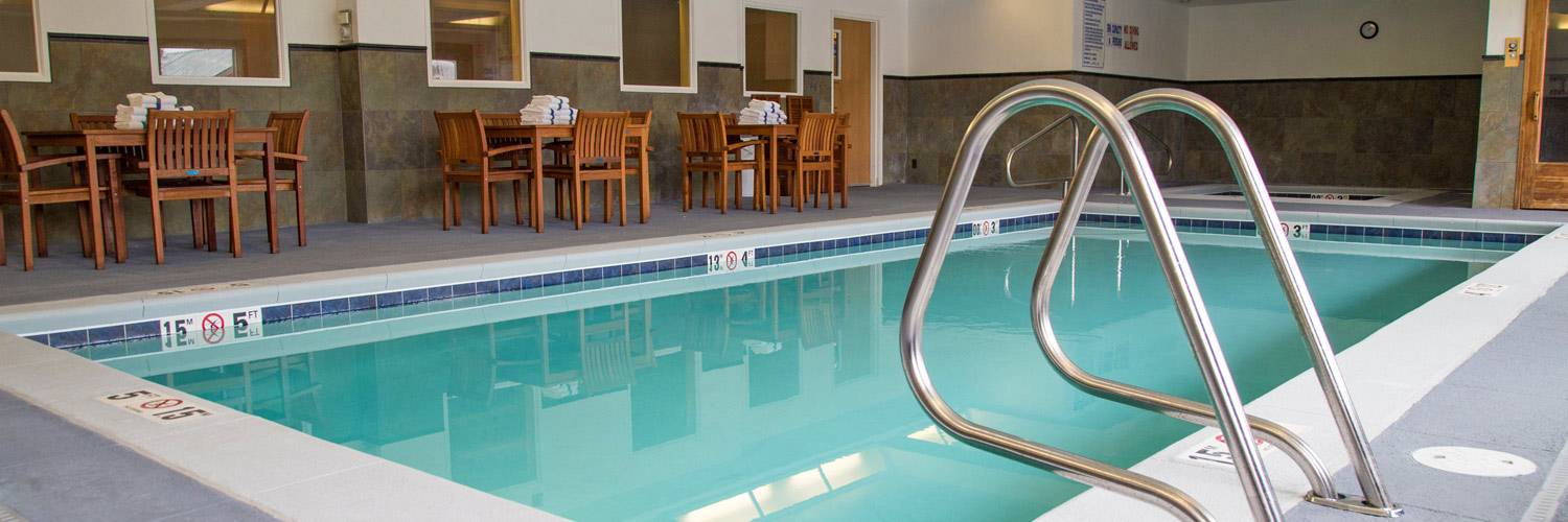 Indoor heated swimming pool at Gray Wolf Inn and Suites