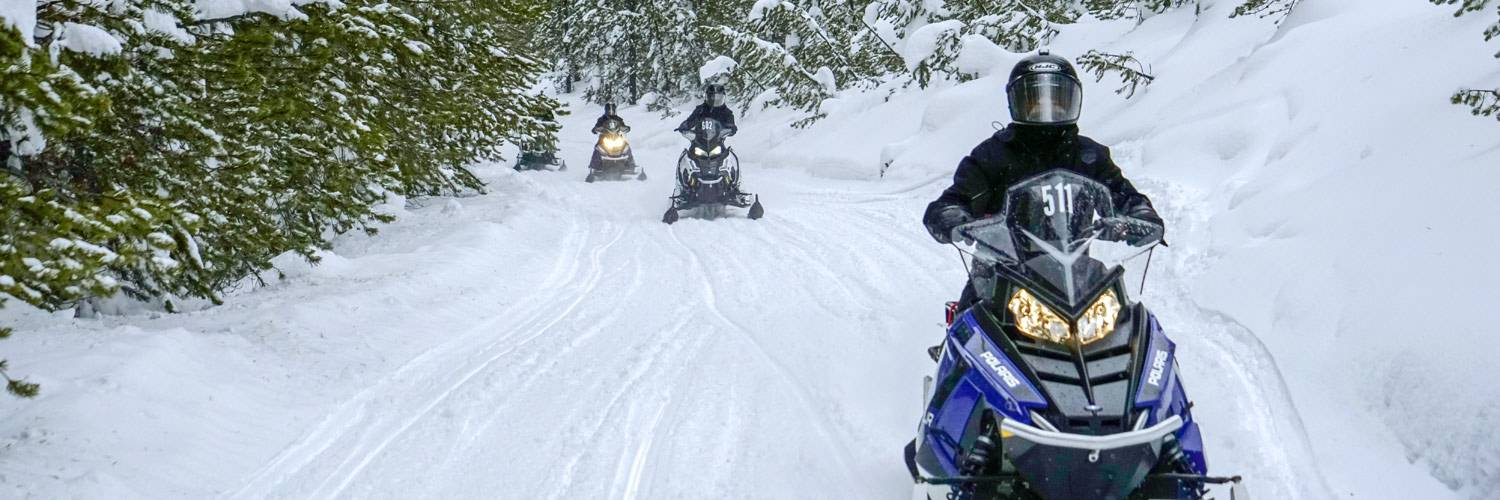 A group of snowmobile riders exploring the forests around West Yellowstone, MT