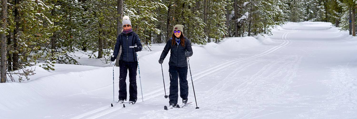 Two cross-country skiers exploring Yellowstone National Park in winter