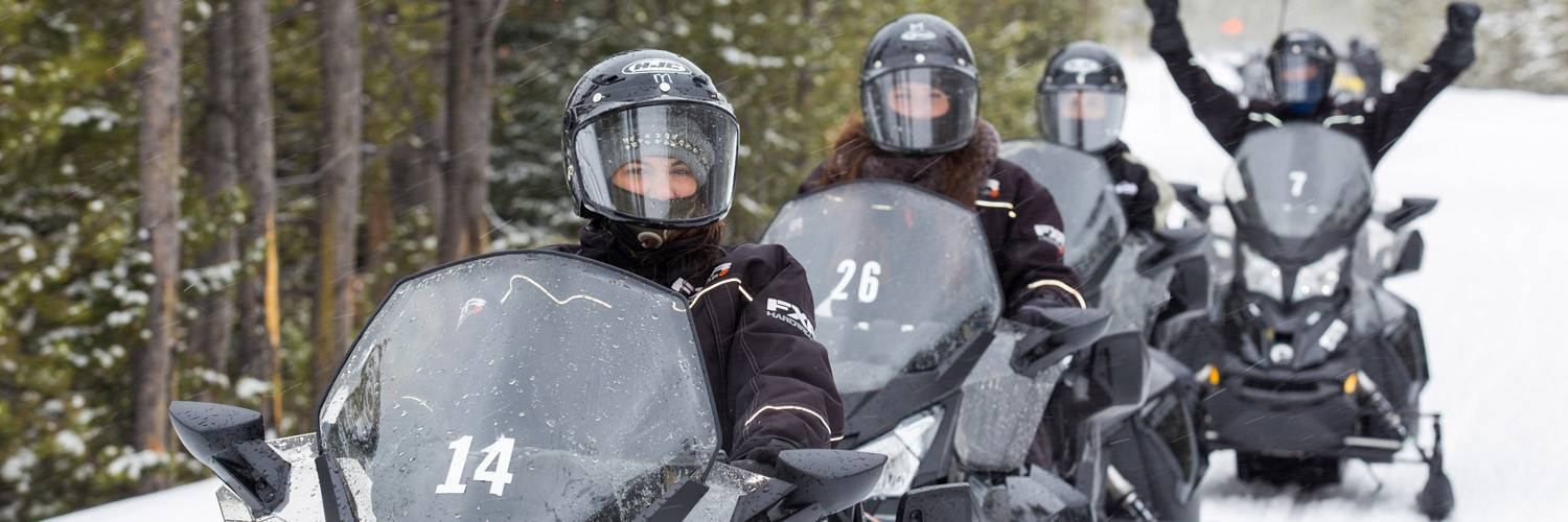 Snowmobiling trips through Yellowstone National Park