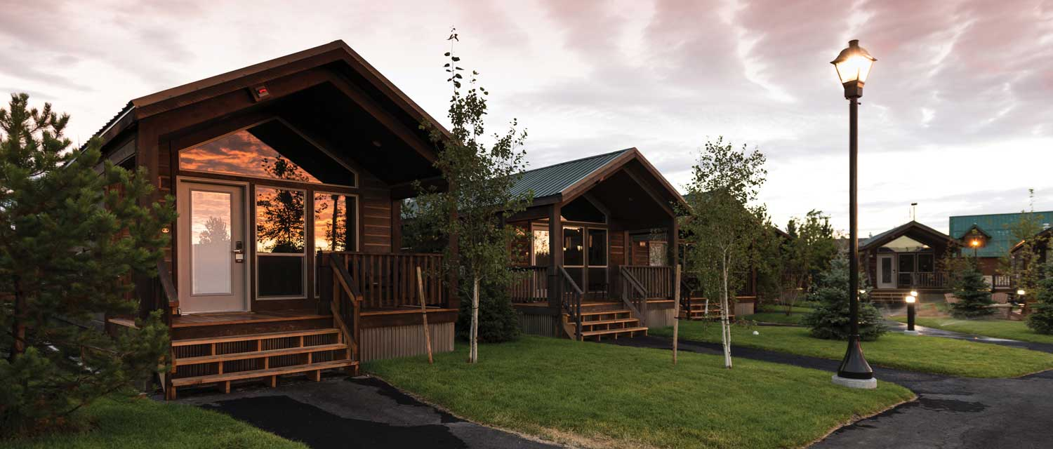 Yellowstone lodging cabins at dusk