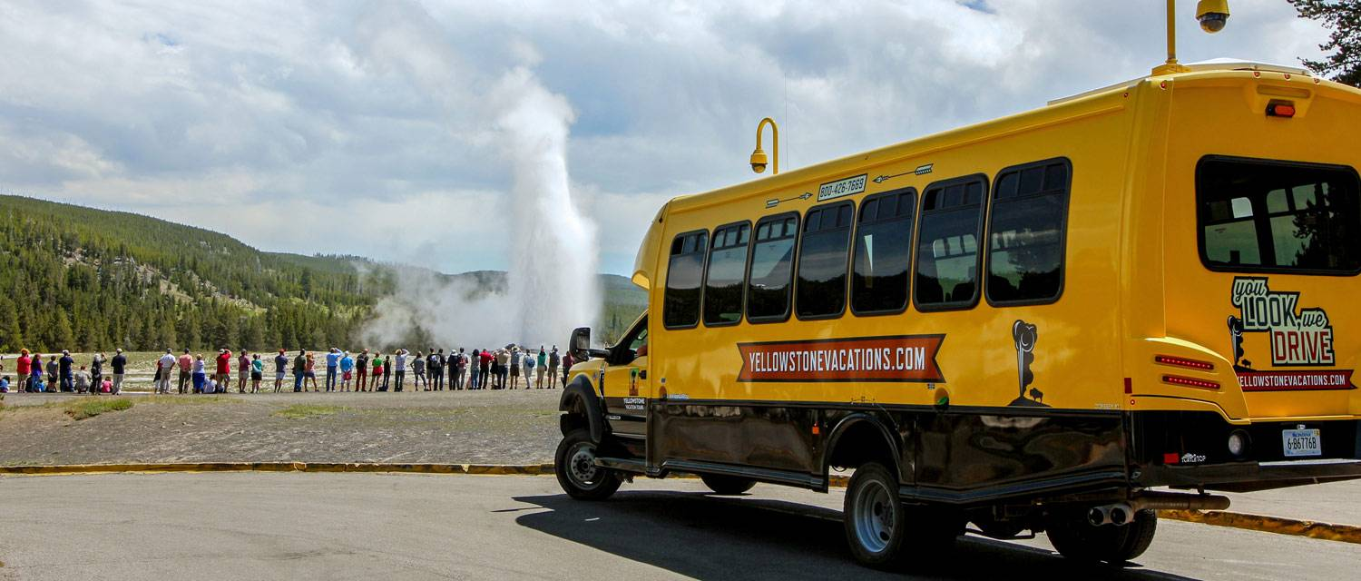 A summer bus tour to Old Faithful, from Yellowstone Vacation Tours