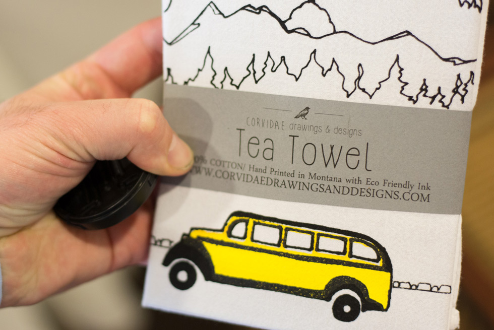 Yellowstone tour bus tea towels available for purchase at Yellowstone General Stores