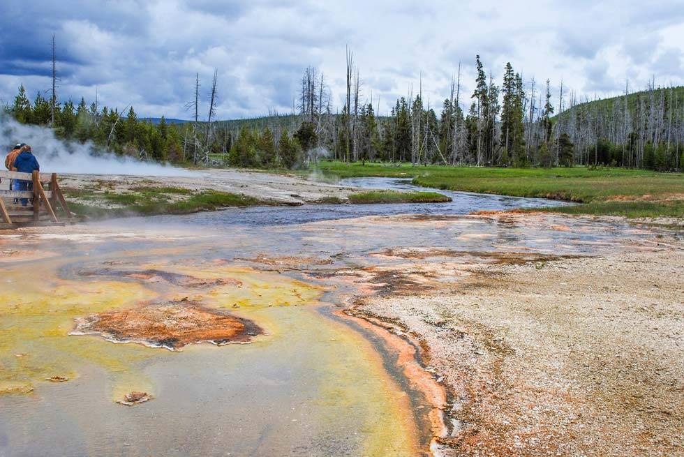 Yellowstone National Park river springs during the fall