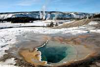 Hot springs in Yellowstone National Park during winter