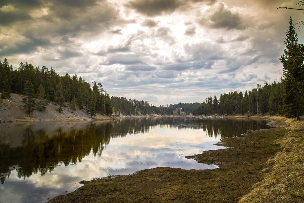 Yellowstone River with cloud reflection on water