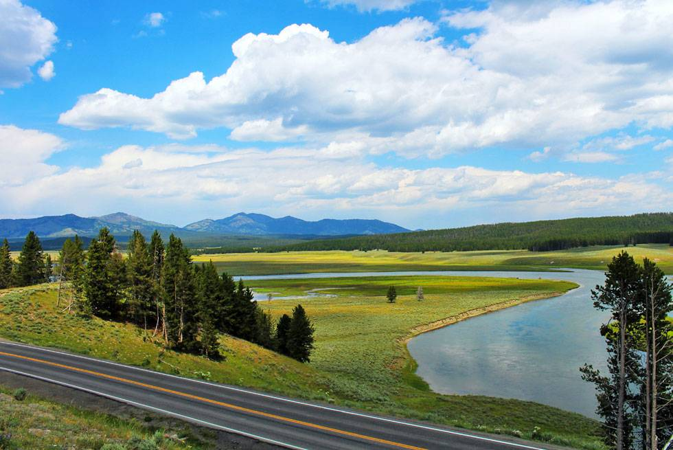 A beautiful scenic roadway through Yellowstone National Park