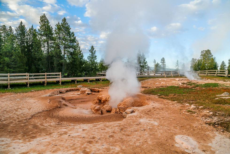 A boiling mud pot in Yellowstone National Park
