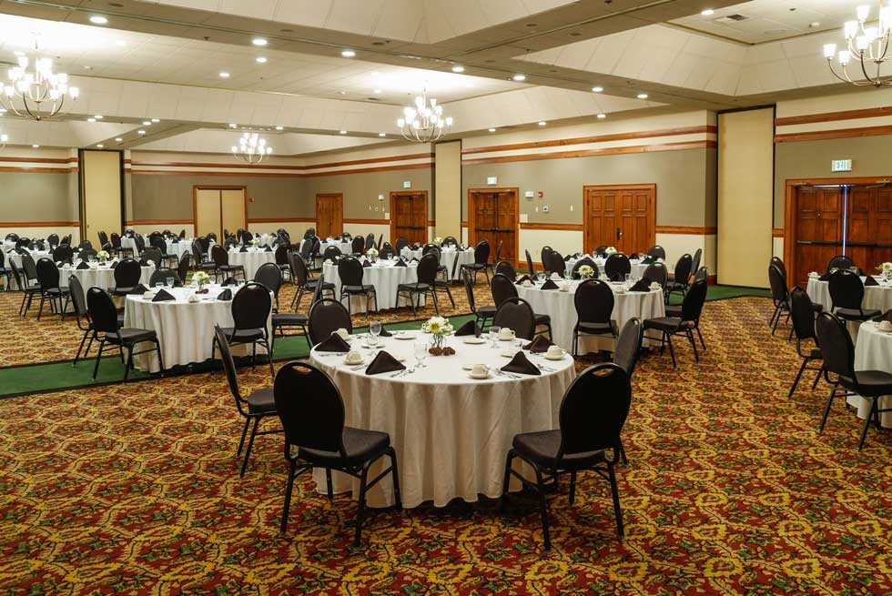 Large banquet room inside the Holiday Inn West Yellowstone