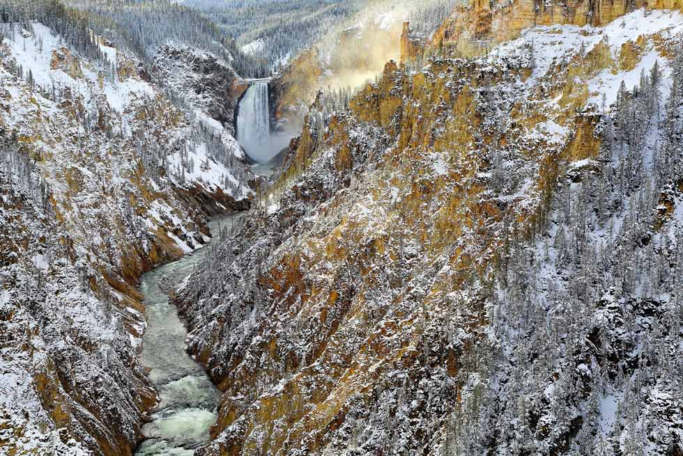Yellowstone National Park Lower Falls during the winter
