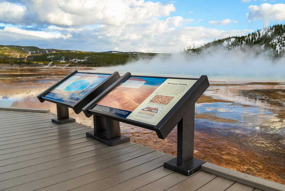 Informational signage at Grand Prismatic Spring
