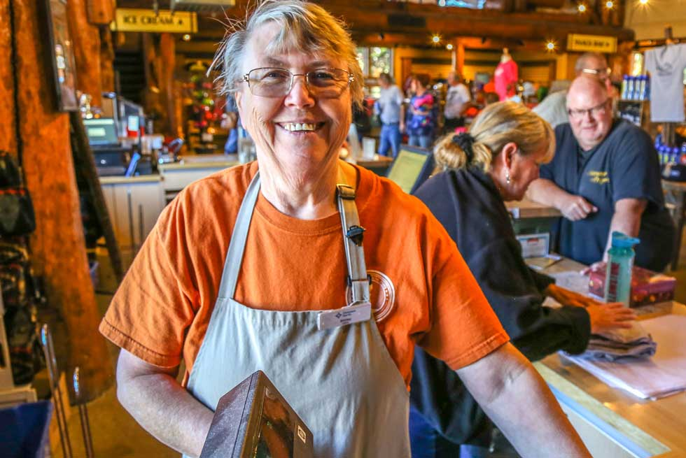 Happy cashier employee at Yellowstone General Store