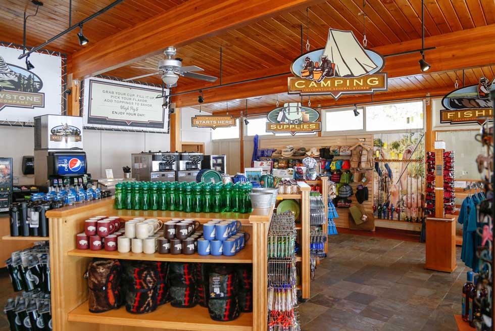 Inside Yellowstone Adventures selling outdoor apparel and equipment