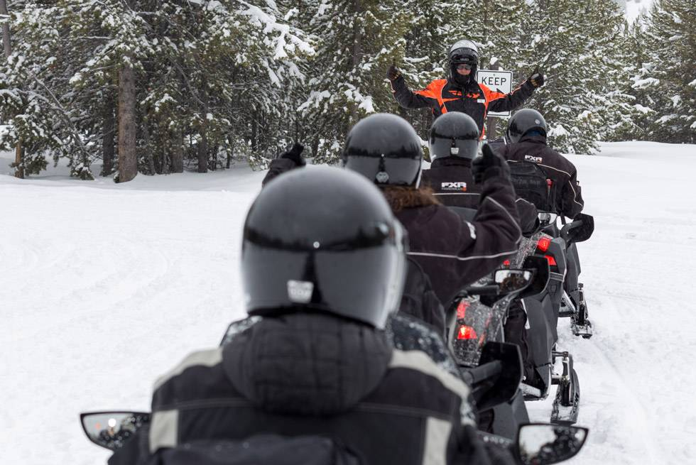 All snowmobile riders must travel single file in Yellowstone Park. Just follow your guide's lead!