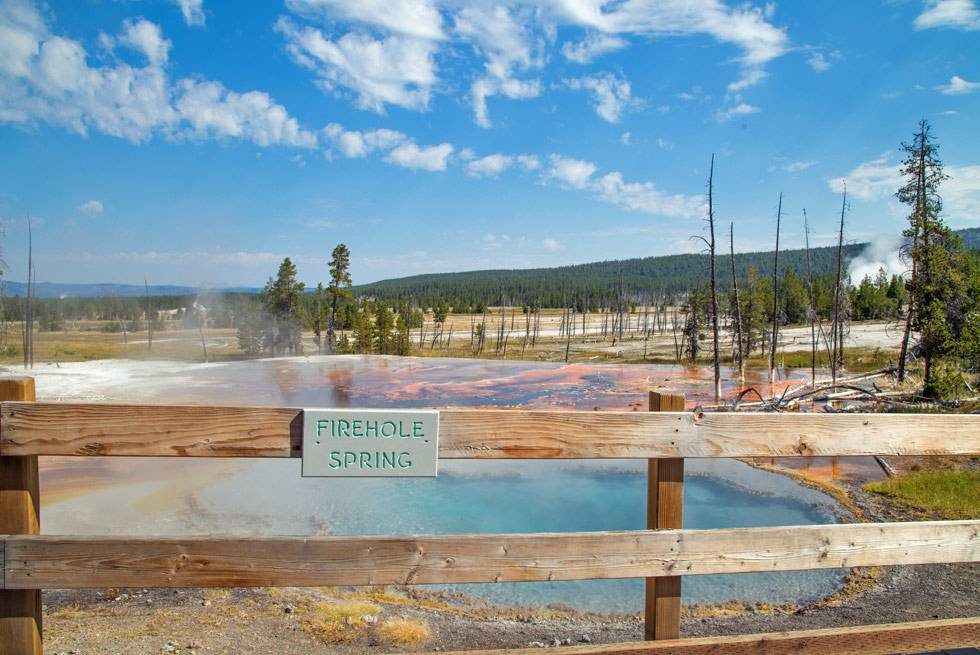 Enjoy a quick stop at Firehole Springs on our Summer Bus Tours