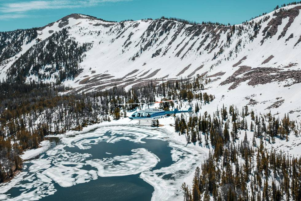 A stunning winter helicopter tour outside Yellowstone National Park