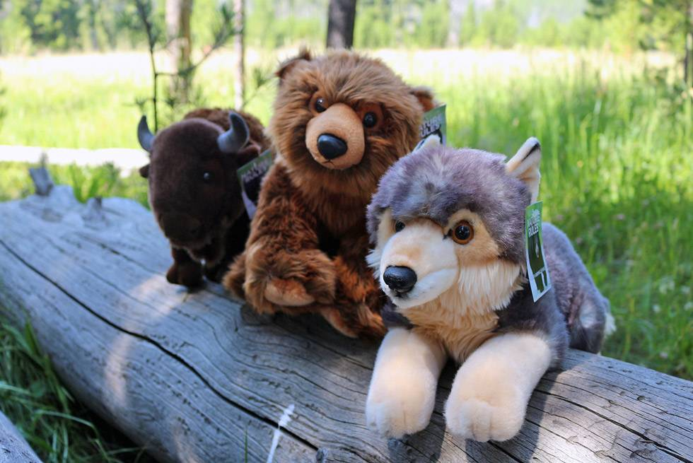 Bear, Bison, and Wolf stuffed animals at Yellowstone General Stores