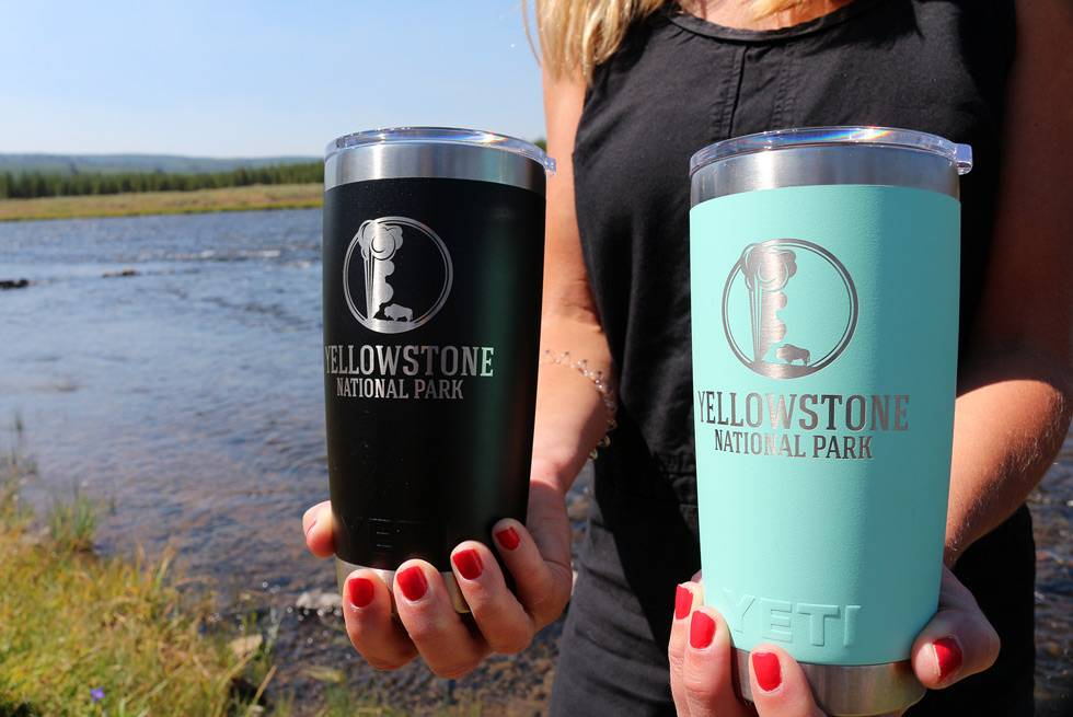 Blue and teal Yeti travel mugs at Yellowstone General Stores