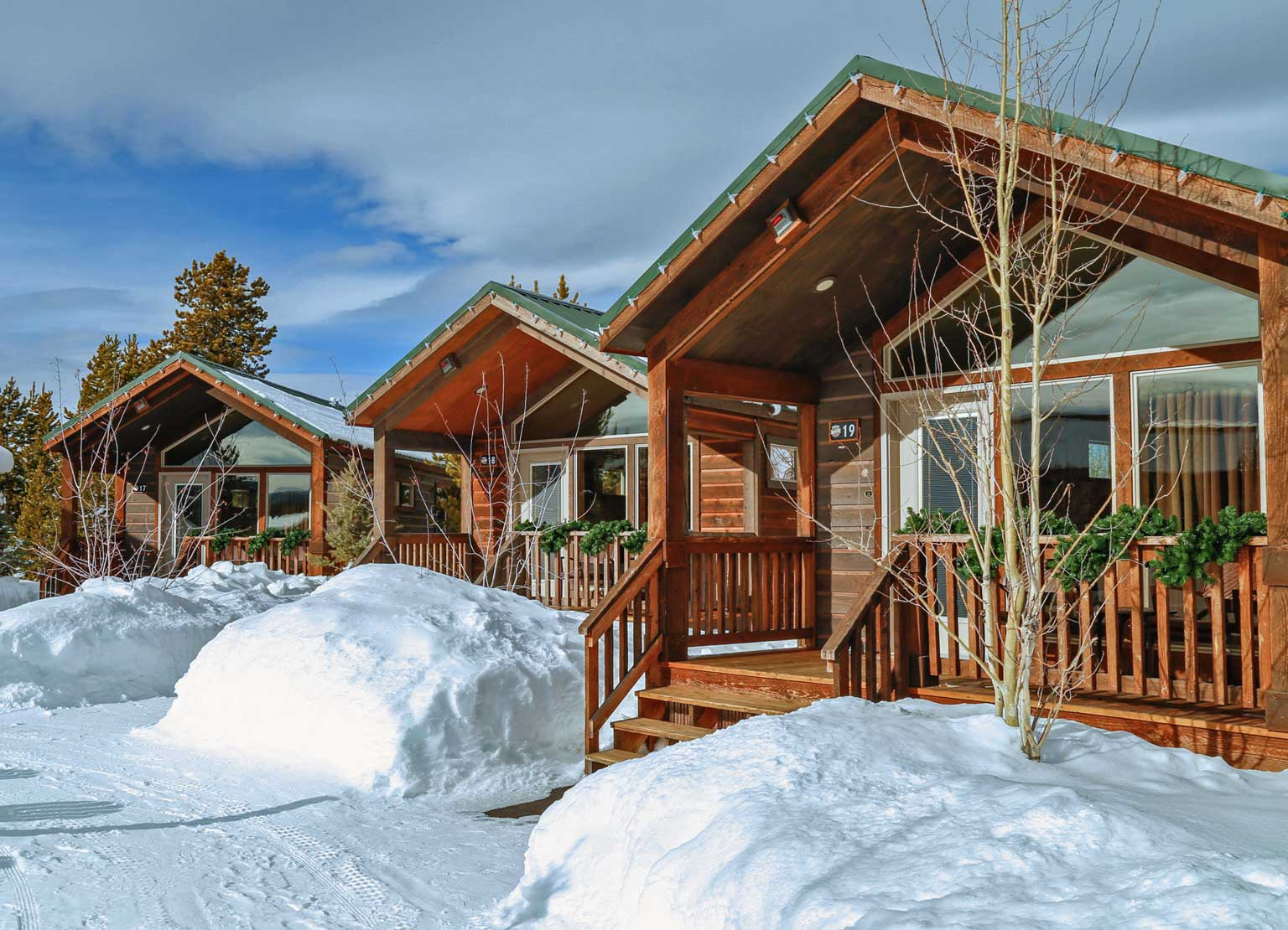 The Explorer Cabins in Yellowstone during winter