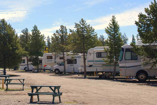 RV trailers at Yellowstone National Park during the summer