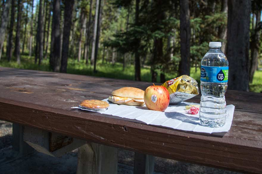 Yellowstone boxed lunches include a sandwich, apple, chips, cookie and water