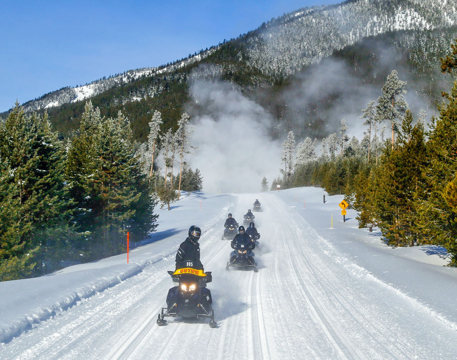Snowmobile tours of Yellowstone National Park with Yellowstone Vacation Tours